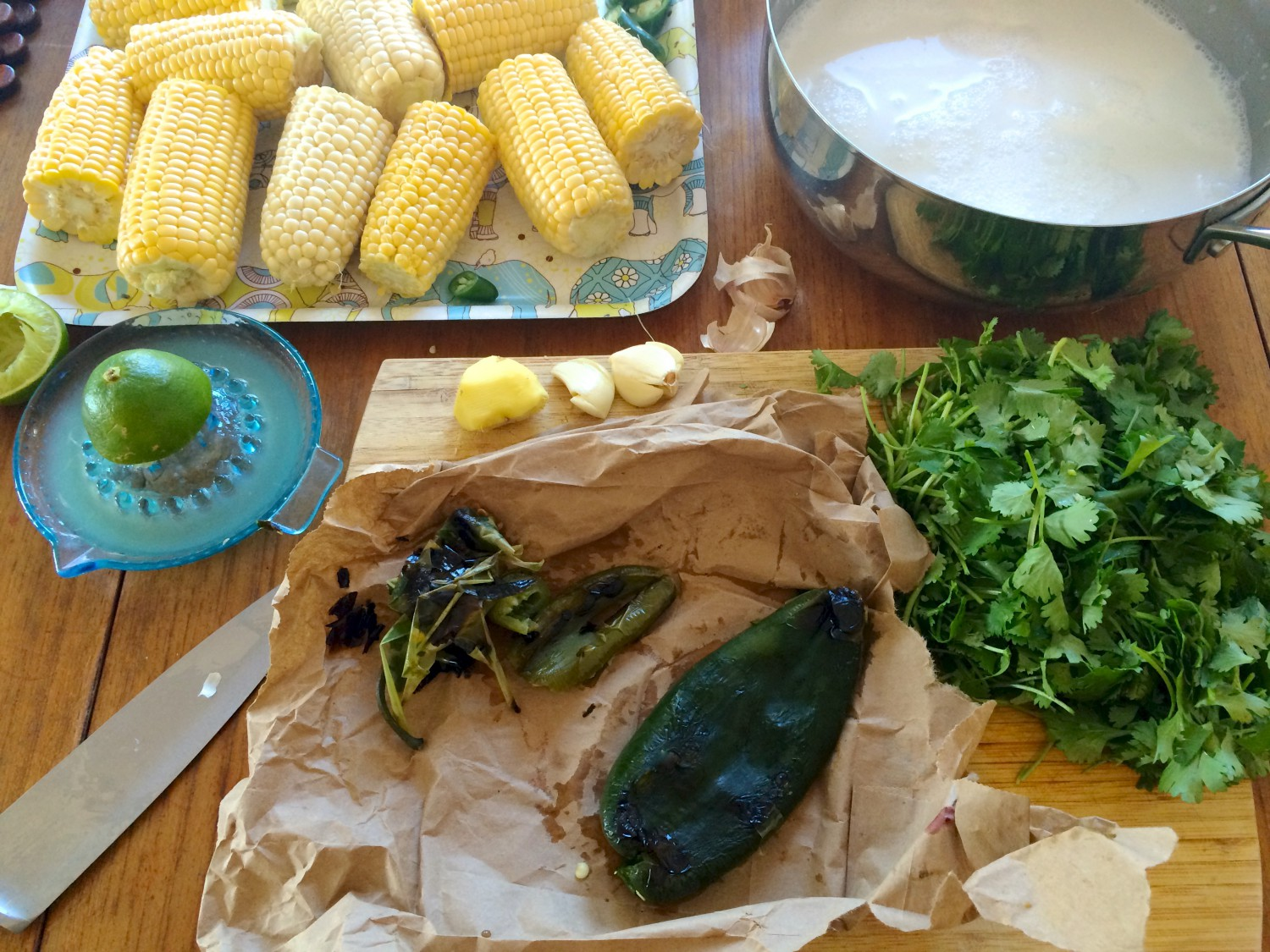 Corn in a Roasted Pablano Coconut Sauce