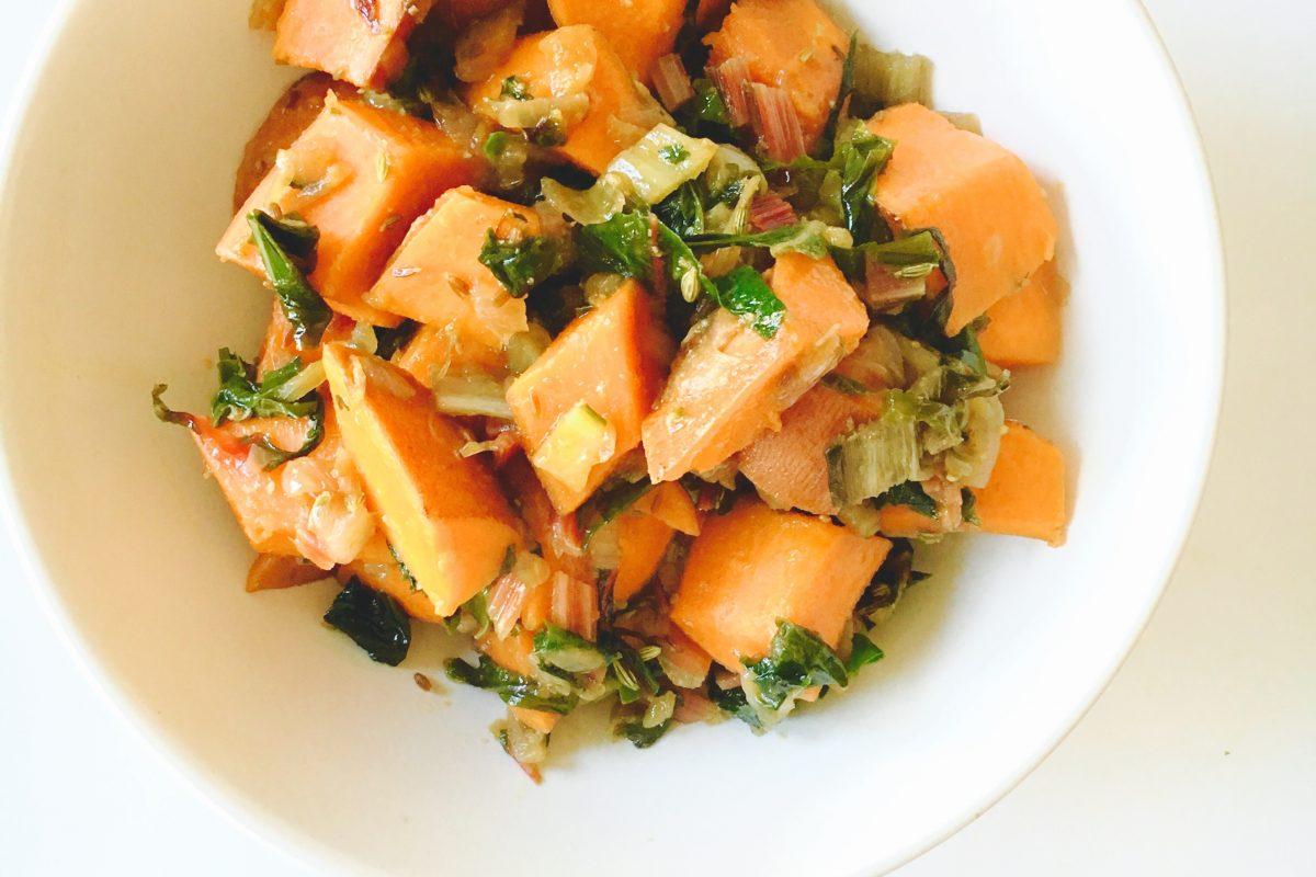 5 Spices w/Yams & Rainbow Chard #chitchaatchai