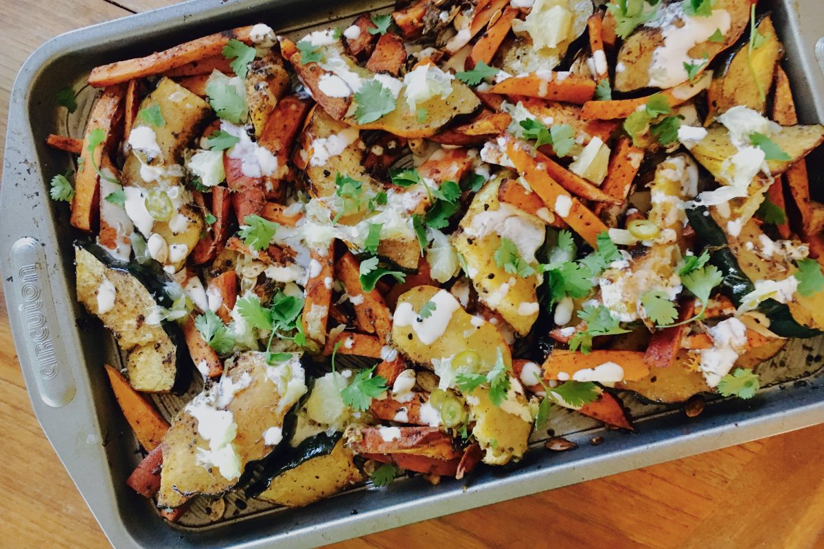chit-chaat-chai ayurvedic roasted squash and yam with tahini dressing